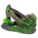 Sunken Boat Wreck Covered in Moss Fish Tank Ornament