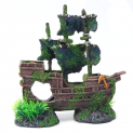 Sunken Moss Covered Pirate Ship Wreck Fish Tank Decoration