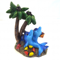 Dolphins Under Palm Trees Fish Tank Ornament